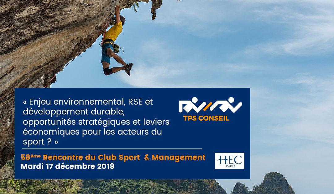 58ème Rencontre du Club Sport & Management